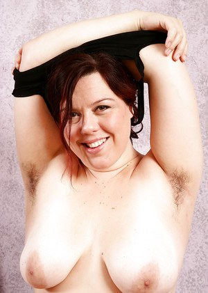 Obese older woman in spandex pants exposing big tits and hairy vagina