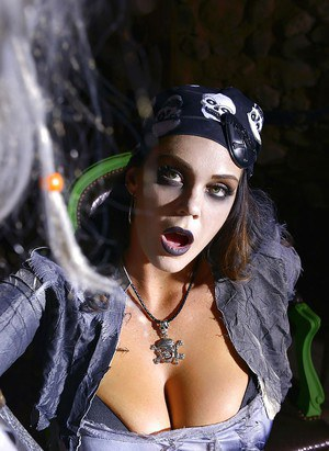 Busty cosplay pornstar Alyson Tyler giving big cock a blowjob in boots