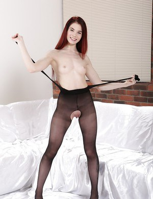 Redhead babe Lovenia Lux toying shaved pussy while masturbating
