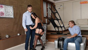 Stocking and high heeled brunette taking anal during hardcore DP