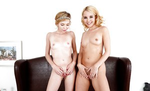 Blonde teens Aaliyah Love and Angel Smalls humping after lingerie removal
