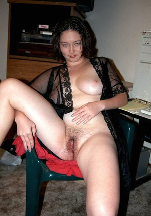 Chubby amateur Asian solo girl playing with hairy exposed pussy