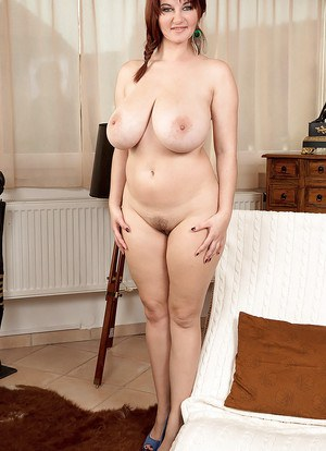 European solo girl Vanessa Y unveiling large natural tits and hairy pussy