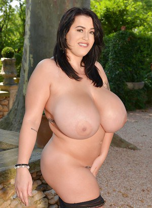 Euro plumper Leanne Crow freeing massive knockers from lingerie outdoors