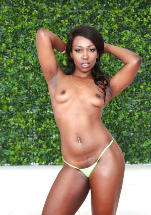 Black dime Skyler Nicole flaunting small tits and round bottom outdoors