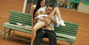 European brunette Anissa Kate taking hardcore butt fucking outdoors