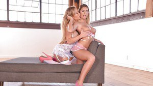 Euro lezzies Zoey Portland and Augustus Ames freeing big tits from lingerie
