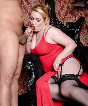 Chubby European chick Amber West giving bj before doggy sex in stockings