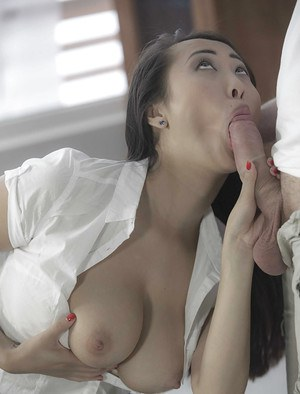 Busty Asian office worker Sharon Lee taking cumshot after hardcore fucking