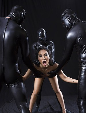 Asian MILF pornstar Asa Akira taking facial cumshots in gangbang