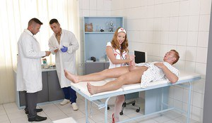 Teen Euro nurse Sofi Goldfinger giving blowjob before blowbang in uniform