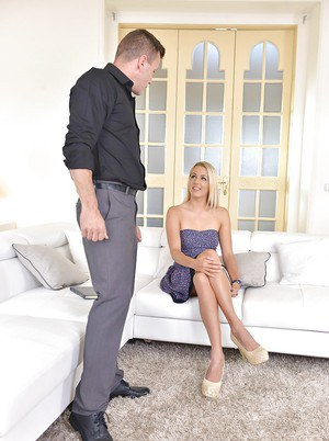 Blonde Euro chick Christen Courtney taking hardcore banging of shaved cunt