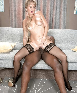Stocking clad mature broad Tracy Licks taking hardcore interracial banging