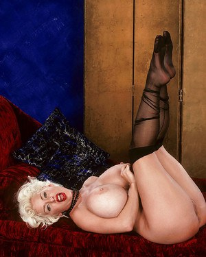 Mature pornstar SaRenna Lee flaunting monster tits in pantyhose and heels