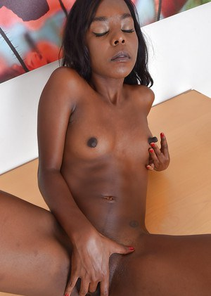 Black babe revealing tiny breasts before masturbating MILF pussy