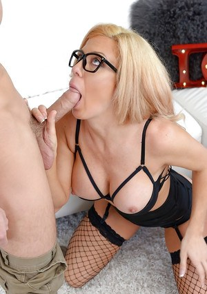 Glasses wearing blonde mom Parker Swayze giving big cock a bj in fishnets