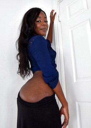 Older black lady unveils small breasts and long nipples while undressing