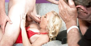 Aged blonde wife Sara Skiphers fucking big cock while cuckold hubby watches