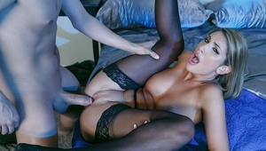 Busty stocking and high heeled clad pornstar wife giving masked man bj