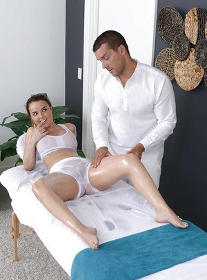 Pornstar Dillion Harper receiving oil massage before hardcore fuck session