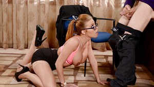 Stocking clad pornstar Britney Amber oils big knockers for titjob in office