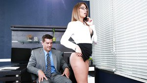 Glasses topped pornstar Layla London baring big boobs before office sex