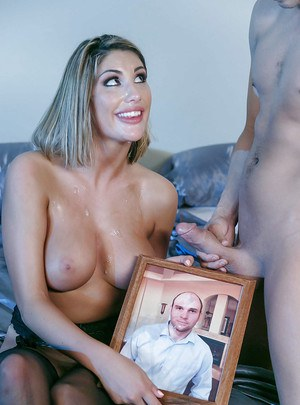 Busty pornstar wife August Ames giving ball licking bj after ass licking
