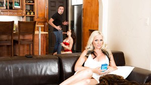 Buxom MILF pornstar give big cock blowjob while his wife watches on