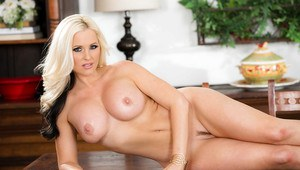 Solo girl Alena Croft freeing large MILF knockers from lingerie