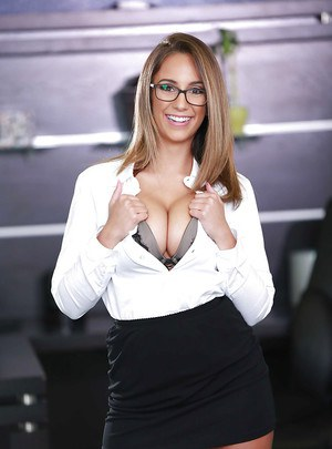 Glasses attired office worker Layla London baring big natural tits