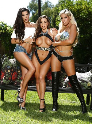 Latina Bridgette B and lesbians girlfriends revealing big tits outdoors