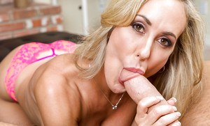 Busty blonde MILF Brandi Love sporting creampie after giving bj and titjob
