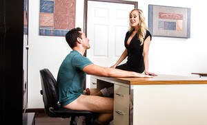 Horny moms Brandi Love and Nicole Aniston giving 3some blowjob in office