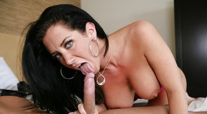 Busty brunette MILF with tattoos taking hardcore fucking of shaved pussy