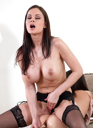 Busty lesbian offering up phat ass for anal toying in BDSM lezdom action