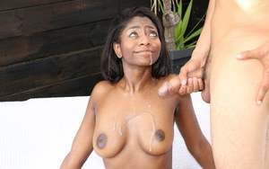 Busty black chick Lexi Rose taking hardcore banging of bald cunt outdoors