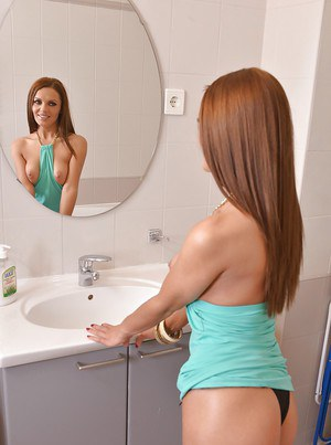 Redhead babe Dominica Phoenix unveiling tiny tits and sexy ass in bathroom