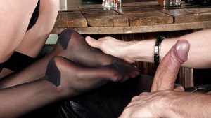 Leggy Euro chick Lucy Heart receiving cumshot on nylon clad feet after DP