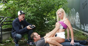 Blonde European pornstar Dirty Tina having MMF threesome outdoors