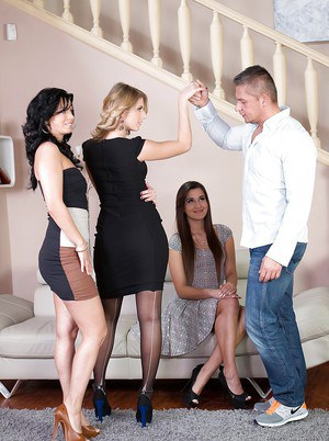 Naughty Euro girls Vicky Love, Cindy and Aria Logan enjoy reverse gangbang