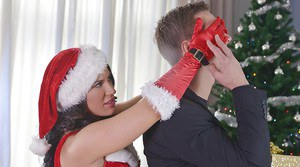 Stocking clad Euro chick taking cumshot after hardcore sex in X-mas outfit