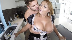 Buxom maid taking hardcore anal toying and ass fucking from big dick
