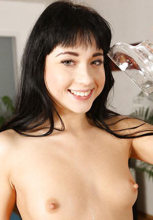 Dark haired abbe with tiny tits squirting piss after anal toying