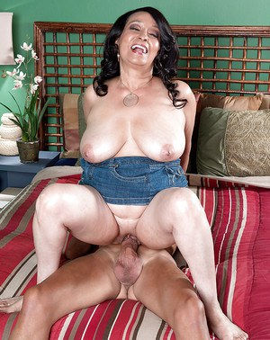 Chubby brunette granny Rochelle Sweet riding big cock cowgirl style
