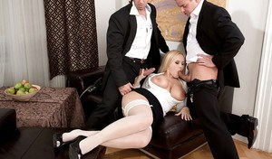 Stocking clad plumper Angel Wicky bares big tits while giving head in 3some