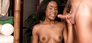 Busty ebony first timer Rio Marxxx taking cumshot after hardcore fuck