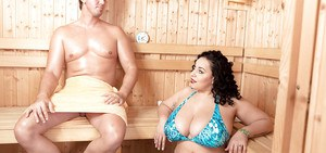 Obese brunette Anastasia Lux loosing huge tits from bikini for sex in sauna