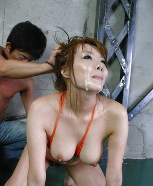 Busty and oiled Jap Yuna Hirose taking jizz on face during gangbang