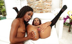 Stocking garbed black chicks Mya Mays and Jazzi baring nice butts in 3some
