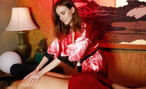 Massagist Jay Taylor shedding lingerie to give blowjob in 69 position